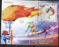 ARMENIA , 2019, MNH, PAN-ARMENIAN GAMES, TRACK EVENTS, S/SHEET - Stamps