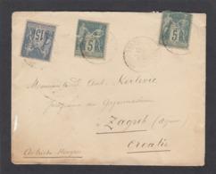 LETTRE DE BROUT-VERNET POUR ZAGREB,CROATIE. - 1876-1878 Sage (Type I)