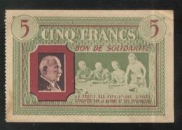 Bon De Solidarité 5 Francs Au Profit Des Populations Civiles - Pétain - Etat Français - SUP - 1871-1952 Gedurende De XXste In Omloop