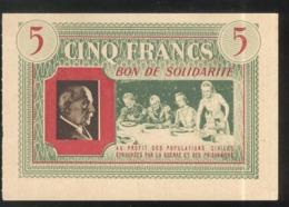 Bon De Solidarité 5 Francs Au Profit Des Populations Civiles - Pétain - Etat Français - SUP - 1871-1952 Antiguos Francos Circulantes En El XX Siglo