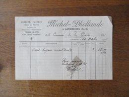 LANDRECIES NORD MICHEL-DHOLLANDE CIMENTS,PLATRES,CHAUX DE TOURNAI,GRAVIERS FACTURE DU 24 OCTOBRE 1906 - France
