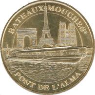75 PARIS BATEAUX MOUCHES PONT DE L'ALMA MÉDAILLE TOURISTIQUE MONNAIE DE PARIS 2019 JETON MEDALS TOKENS COINS - 2019