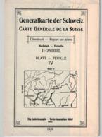 Generalkarte Der Schweiz 1: 250000 Blatt IV - 1936  Ticino - Bellinzona- Lugano (~75 X 55 Cm) - Topographical Maps
