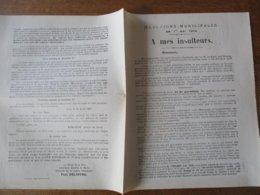 """LANDRECIES ELECTIONS MUNICIPALES DU 1er MAI 1904 COURRIER DE PAUL DELOFFRE MAIRE """"A MES INSULTEURS"""" - Historische Dokumente"""