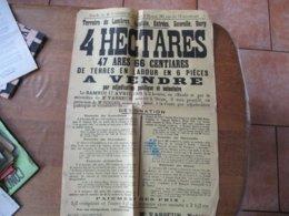 LAMBRES,GREULZIN,ESTREES,GAVRELLE,DURY LE 17 AVRIL 1909 VENTE DE 4 Ha 47a 66 Ca DE TERRES A LABOUR 62cm/42cm - Manifesti