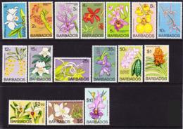 2019-0209 Barbados 1974 Compl. Def. Set Flowers Wmk Mult St Edwards Crown CA Mi 365-380X MNH ** - Barbados (1966-...)