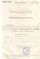 MEDAILLE MILITAIRE-132è REGmnt D'INFANTERIE -VERDUN 1920 - - Documents