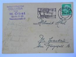 "1941 DR Postkarte, Berliner Fußball-Club COLUMBIA 1935, Freistempel ""Rohrpost Bringt Zeitgewinn"" - Germania"
