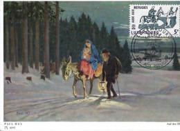 7.4.1960  -  LUXEMBOURG AIDE AUX REFUGIES   PAUL HEY ( 1867-1952 ) Auf Der Flucht - Cartes Maximum