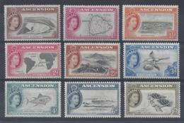 """ASCENSION..QUEEN ELIZABETH II.(1952-NOW)...."""" 1956 """"....DEFINATIVE  SET ..(CAT £140...)...MH..... - Ascension (Ile De L')"""