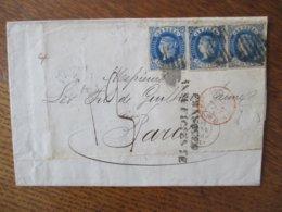 MADRID 12 PNE 63 PARIS 15 JANV 63 CACHET ROUGE 3 TIMBRES 12. CUARTOS. - 1850-68 Kingdom: Isabella II