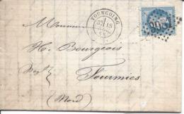 20c Napoléon Lauré GC 3987 Et Cachet 17 TOURCOING Du 18 Novembre 68 Pour FOURMIES - 1853-1860 Napoleone III