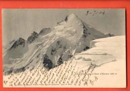 MTT-21 Col D`Hérens Et Dent D'Hérens , Wehrli 5697 Précurseur, Circulé 1904 Vers Lyon, Timbre Déchirré - VS Valais