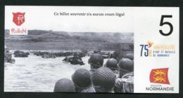 """WW2 Billet Fantaisie Normandie - Edition Privé 2019 """"Spécimen 5 Rollon / 75e Anniversaire Du Débarquement"""" WWII - Specimen"""