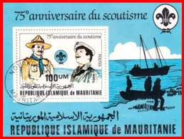 MAURITANIA HOJITA  75 ANIVERSARIO DE LOS SCOUT - Mauritania (1960-...)