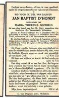 Jan Baptist D'Hondt Wed Michiels Maria Theresia °Rijsel Frankrijk 1865 +1942 Wolfsdonk Bond H.hart Fanfare De Verenigde - Esquela
