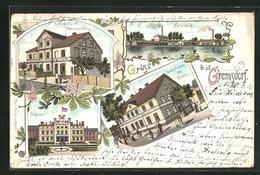 Lithographie Gremsdorf, Gasthof Zu Den Drei Kaisern, Heinrich Wiemer Waarenhandlung, Hüttenteich - Schlesien