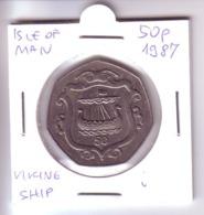 Isle Of Man 50 Pence - Viking Ship (1987) Rare - Regional Coins