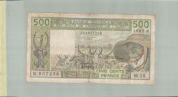 """BILLET DE BANQUE  BANQUE CENTRALE DES ETATS DE L'AFRIQUE DE L'OUEST   500  """" SENEGAL -  1985 K""""        Sept 2019  Alb 16 - Stati Dell'Africa Occidentale"""