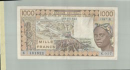 """BILLET DE BANQUE  CENTRALE DES ETATS DE L'AFRIQUE DE L'OUEST   1000  """" SENEGAL"""" """"1987 K""""  Sept  2019  Alb 16 - États D'Afrique De L'Ouest"""