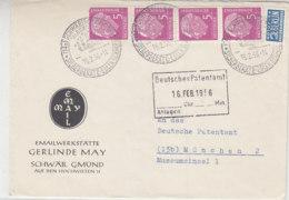 Brief Der Emailwerkstätte MAY Mit 5Pf Gr.Heuss (4Streifen) Oberste Marke Hat Eckfehler Aus SCHWÄBISCH GMÜND 15.2.56 - Briefe U. Dokumente