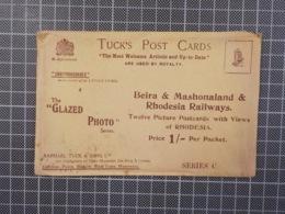 "Cx9) RAILWAY RAILROAD Tuck's Post Card Printed Envelope To ""BEIRA & MASHONALAND & RHODESIA RAILWAYS"" - Ferrovie"