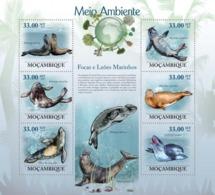 Mozambique, 2010. [moz10109] Seals & Sea Lions ( Mirounga Leoniva, Monachus Monachus, Hydrurga Leptonyx ) (s\s+block) - Marine Life