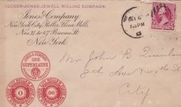L4D162 ETATS-UNIS Lettre Hecker Jones Jewel Lining Compagny New Yort Pour New York 10 06 1892 - 1847-99 General Issues