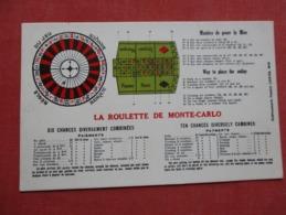 La Roulette De Monte Carlo    English & French  Rules   Ref   3606 - Postcards