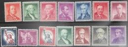 US 1954-8  14 Diff  MNH  Face Value $1.98  2016 Scott Value $8.15 - Etats-Unis