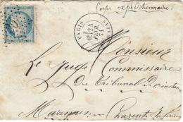 """21 Février 1871- Enveloppe De PARIS / BT MAZAS Affr. N°37 Oblit étoile 30 """" Corps Expéditionnaire """" Voir Le Dos - Marcophilie (Lettres)"""