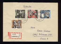 BRD 1957, Michel-Nr. 270 - 273, Wohlfahrt Kohlebergbau. R-Brief Landshut - Brückenau - Brieven En Documenten
