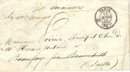1858- Lettre En Port Du Cad N°2526-  3ème  échoppé à Droite De Paris Pour La Sarthe - Postmark Collection (Covers)