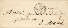 1854- Lettre En Port Du Cad N°2513  1 Er  12    De Paris Pour La Sarthe - Postmark Collection (Covers)