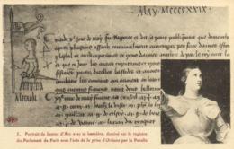 Portrait De Jeanne D'Arc Avec Sa Bannière Dessiné Sur Le Registre Du Parlement De Paris Avec L'avis De La Prise D'Orlean - Femmes Célèbres