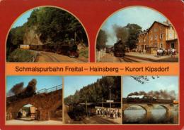 ! DDR Ansichtskarte Schmalspurbahn Freital-Hainsberg-Kipsdorf, Dampflok, Bahnhof Dippoldiswalde, Malter, Schmiedeberg - Stations - Met Treinen