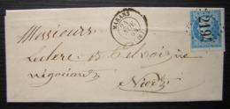 Marans 1864 Gc 2194 Bien Frappé Et Centré Sur Une Lettre Pour Niort - Poststempel (Briefe)