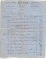 Facture 1889 / 88 BRUYERES / SPITZ / Ferblantier, Quincaillerie, Article De Ménage, Pompes à Bière, Timbre Quittance - 1800 – 1899