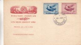 Tchècoslovaquie - Lettre De 1951 - Oblit Praha - Litho De Picasso - Valeur 10 Euros - Picasso