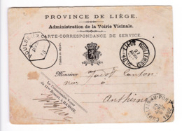 29/903 -- Carte De Service Cachet Hexagonal De Gare POULSEUR 1892 - HAMOIR Vers Anthisnes Via COMBLAIN AU PONT - Briefe & Fragmente