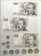 ISRAEL , LOT DE 3 BILLETS DE 20 NEW SHEQALIM , 1993+ 10 Monnaies, 2 Scans - Munten & Bankbiljetten