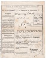 29/905 -- Document Des Chemins De Fer 1893 - Avis De Non-Enlèvement - Griffe Administrative Encadrée De Station PERUWELZ - Railway