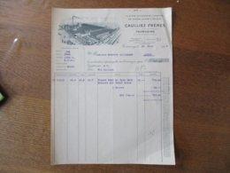 TOURCOING CAULLIEZ FRERES FILATURE & TEINTURE DE COTON CARDE & PEIGNE FACTURE DU 22 JUIN 1935 - France