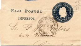 ARGENTINE. Faja Postal Impresos. 2 Centavos. - Enteros Postales