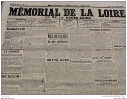 WW1 Quelques Jours Avant La Guerre 20 Juillet 1914 A VOIR / MÉMORIAL DE LA LOIRE / ROANNE / PROCÈS Mme CAILLAUX - Documentos Históricos