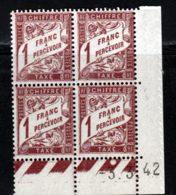 France Taxe 1940 Yvert 40A ** TB Coin Date - Taxe