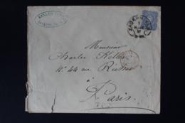 DR  COVER SABERNIELS ELSAS SAVERNE HUFEISENSTEMPEL -> PARIS 1877 - Briefe U. Dokumente
