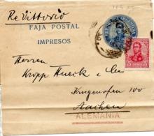 ARGENTINE. Faja Postal Impresos. 1 Centavo + Complément. A Destination De Aachen. - Enteros Postales