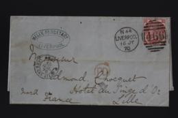 UK Letter Liverpool  -> Lille 1881  SG 141 Plate 5 - 1840-1901 (Viktoria)