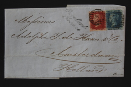 UK Cover SG 43 - 45  1866 London -> Amsterdam Engeland Franco Cursive - 1840-1901 (Viktoria)